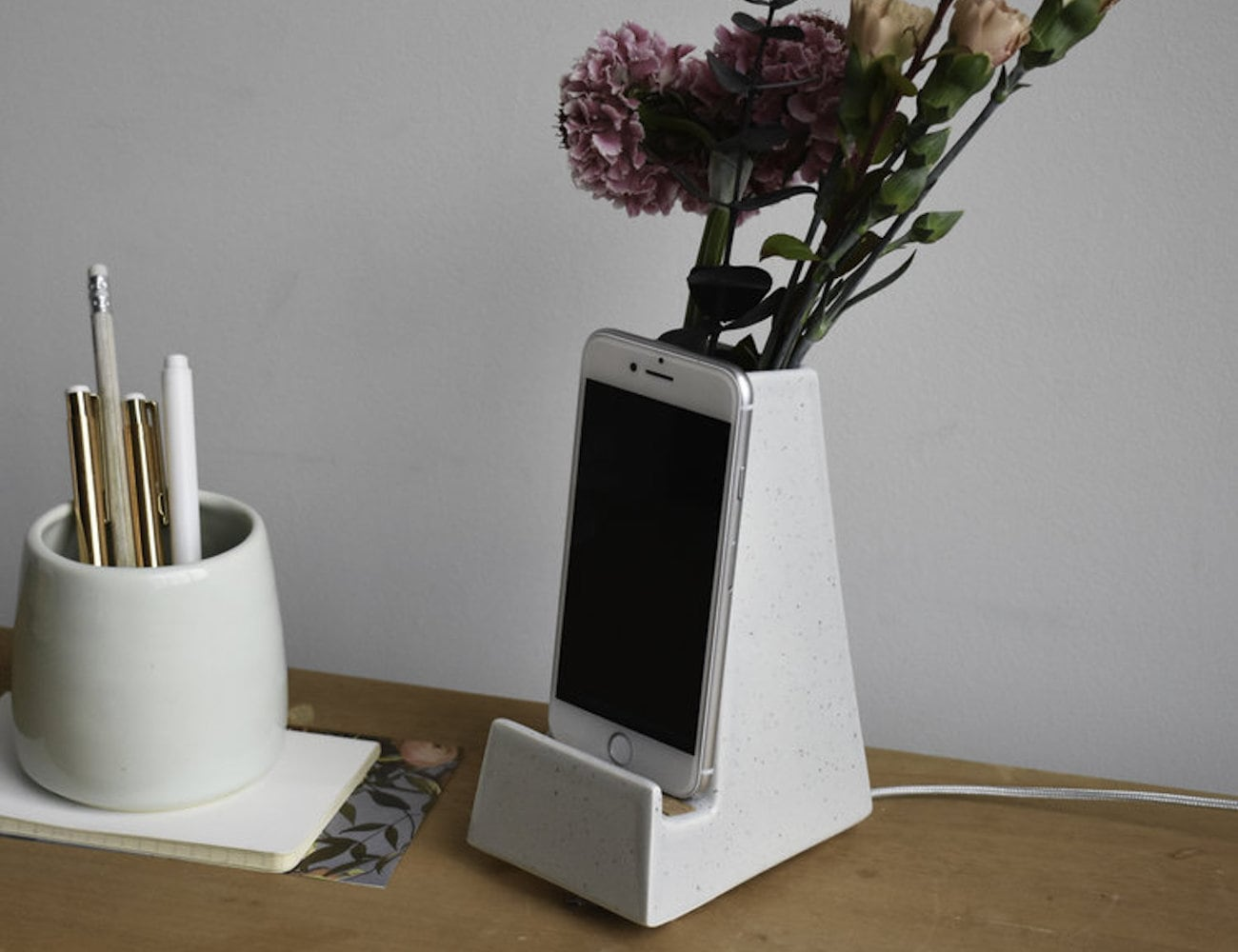 Stak Ceramics Bloom Phone Vase holds your flowers and your phone