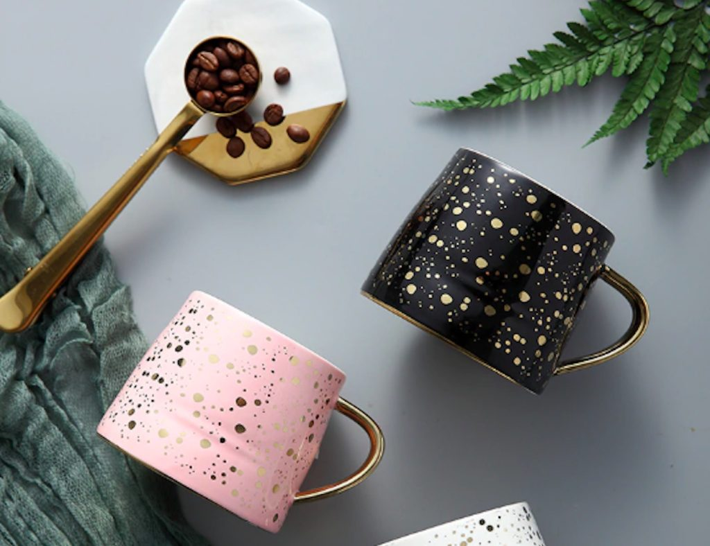 Starry+Sky+Gold+Accented+Ceramic+Coffee+Mug+highlights+the+beauty+of+the+night+sky