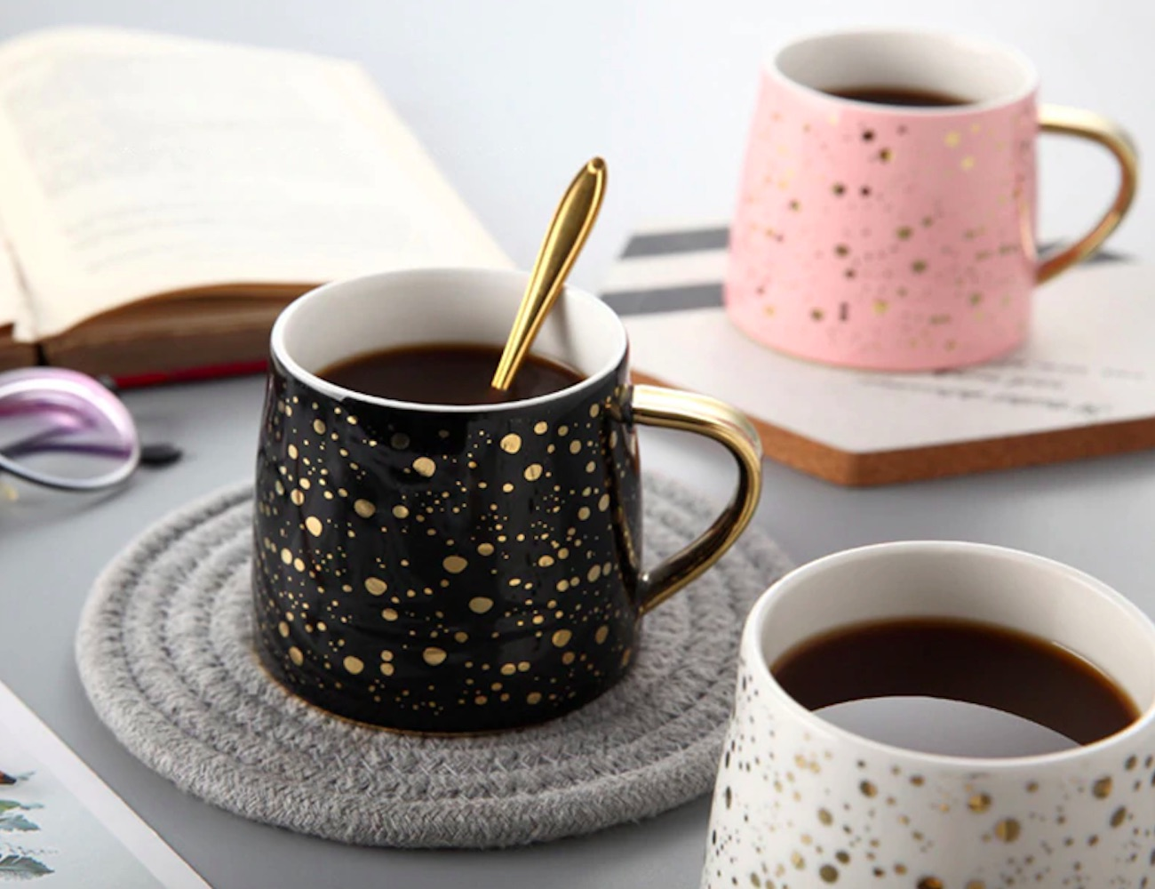 Starry Sky Gold Accented Ceramic Coffee Mug highlights the beauty of the night sky