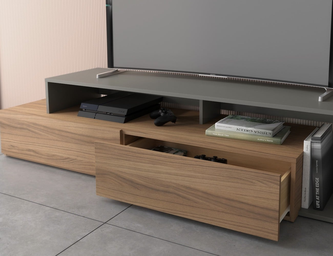 Tonik Collection 72-Inch TV Stand adds a minimalist and modern touch to your living room