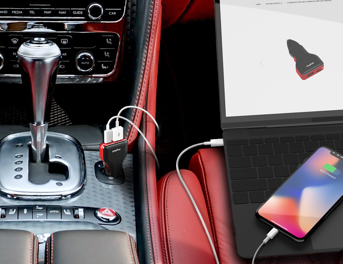 VogDUO USB-C Car Charger charges your devices while you drive