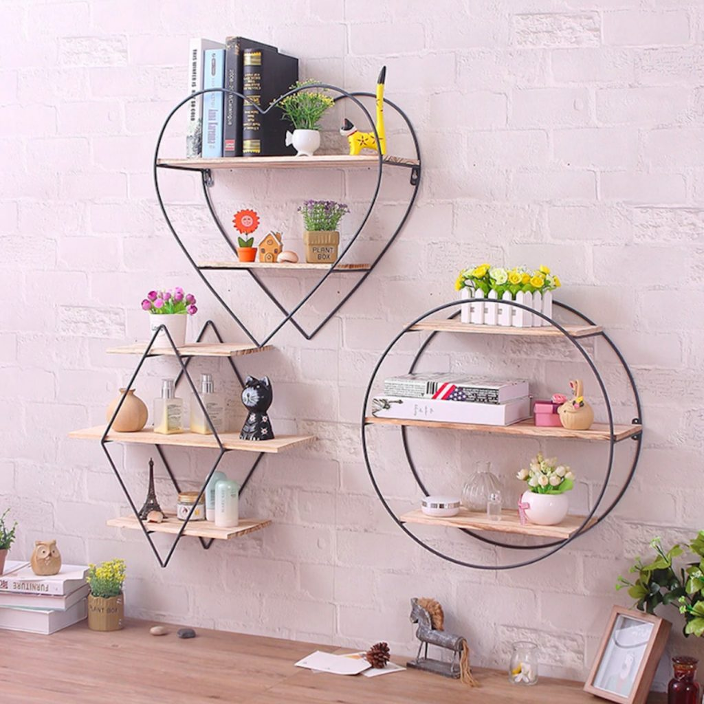 Rustic+Iron+%26%23038%3B+Wood+Modern+Shape+Shelves+add+some+personality+to+your+storage