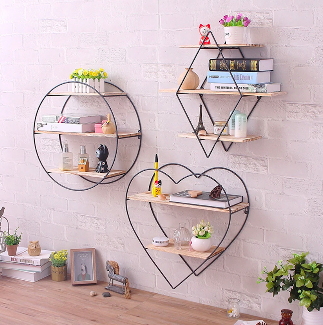 Rustic Iron & Wood Modern Shape Shelves add some personality to your storage