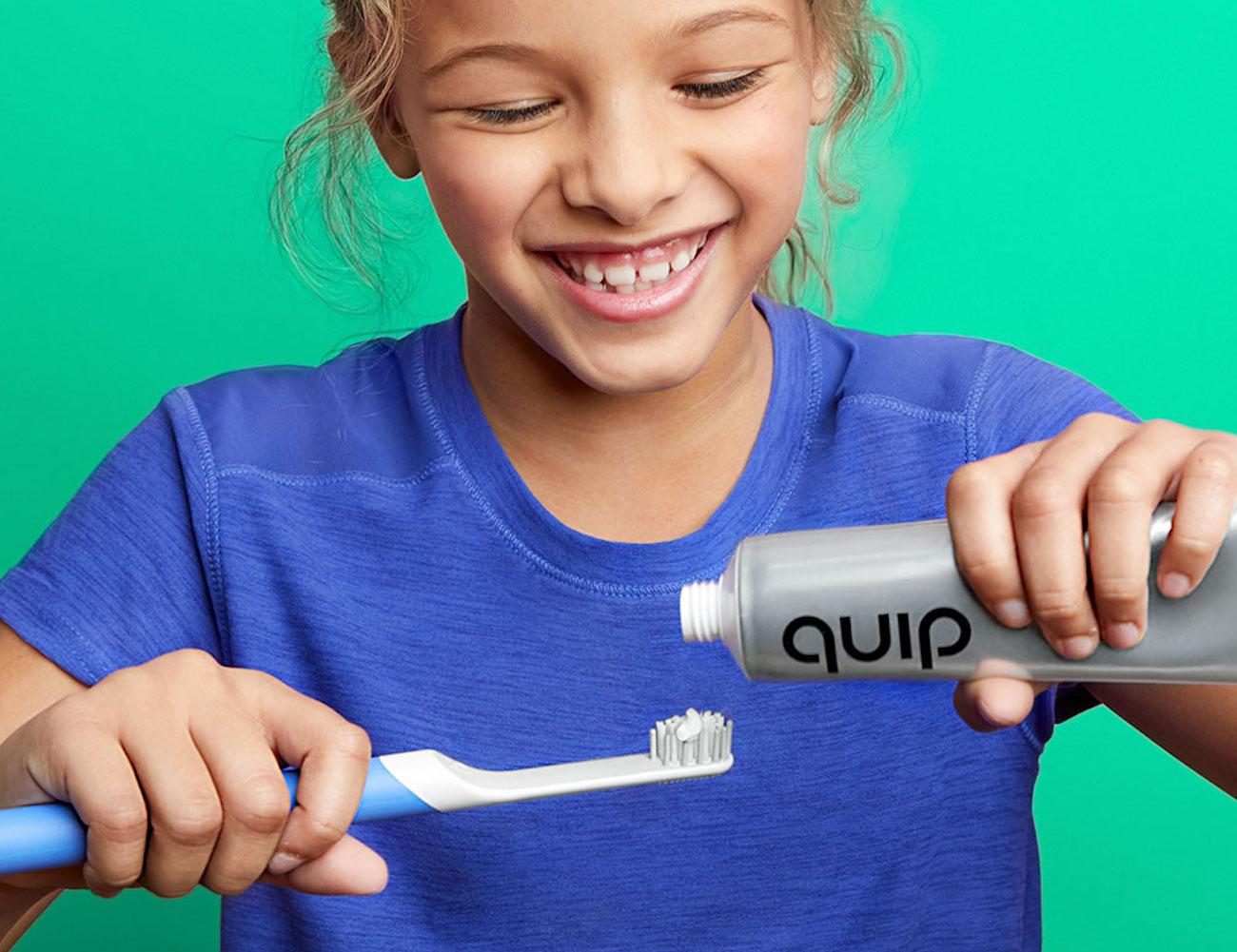 quip Kids Electric Toothbrush Set improves children's toothbrushing time