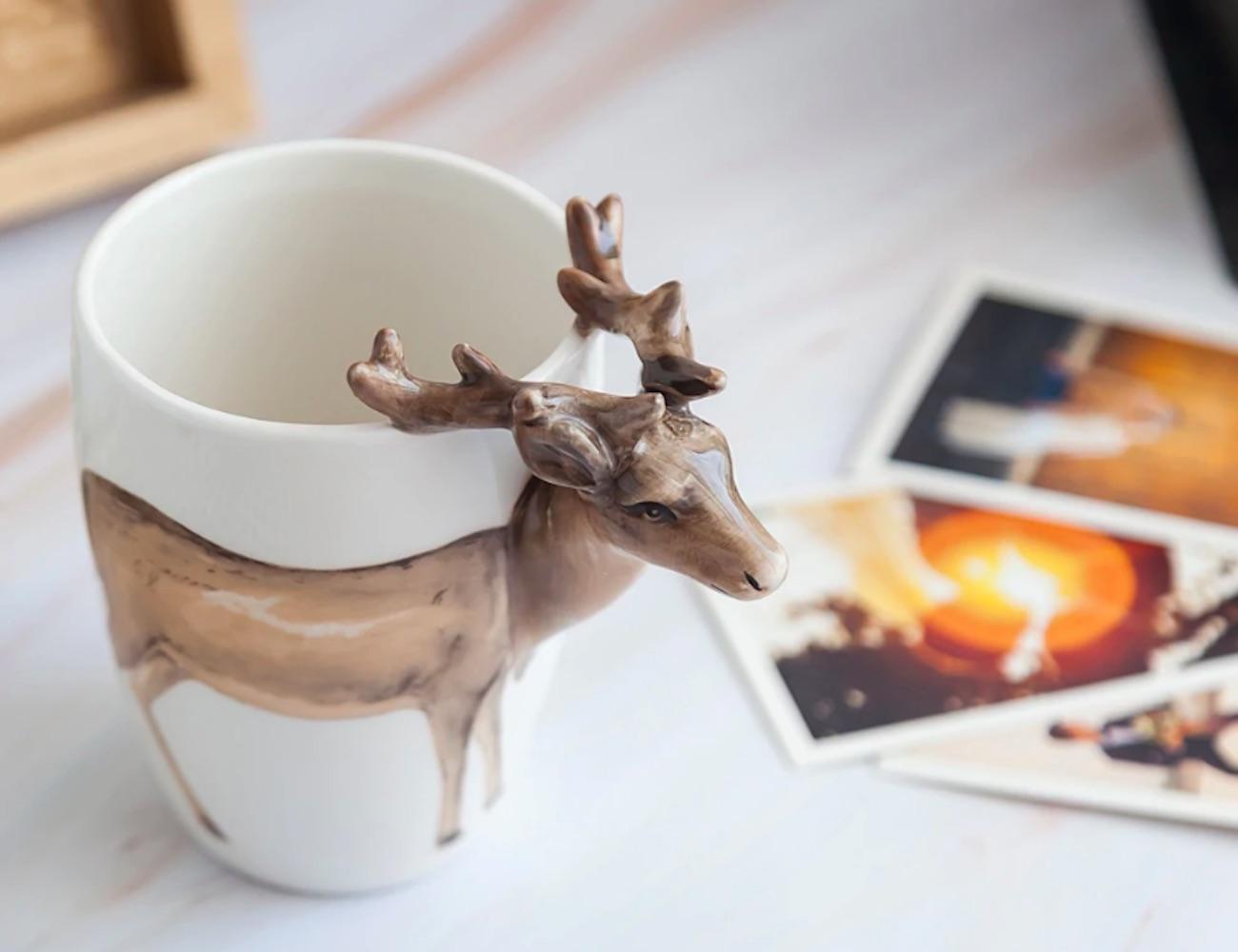 3D Deer Handle Ceramic Mug has a unique handle