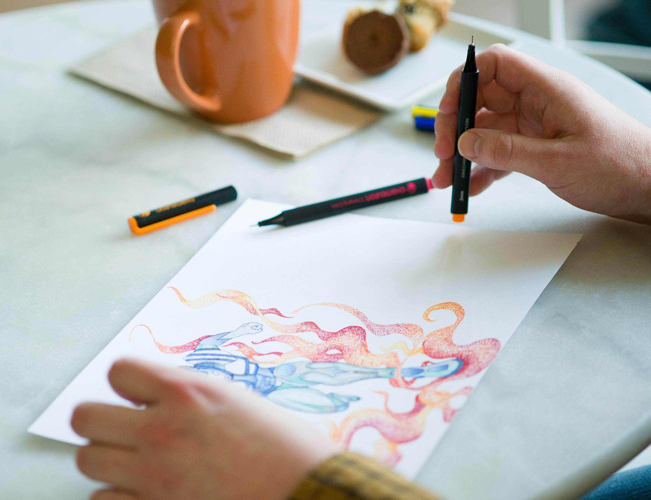 Chameleon Fineliners Revolutionary Color Blending Pens offer 1128 color combinations