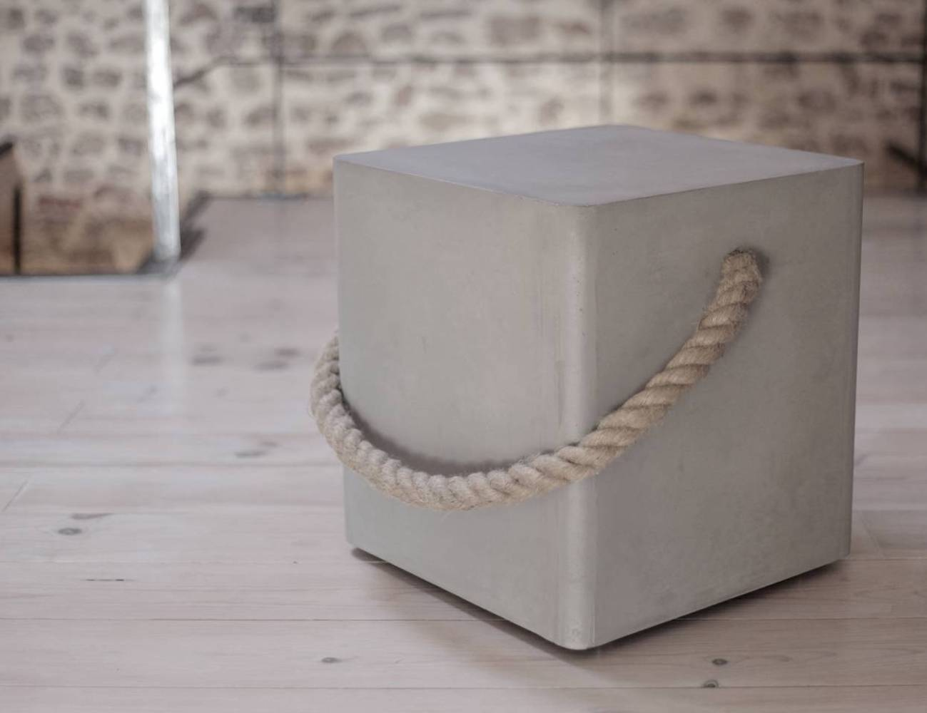 Concrete Soft Edge Modern Stool By Lyon Béton is classic and rustic
