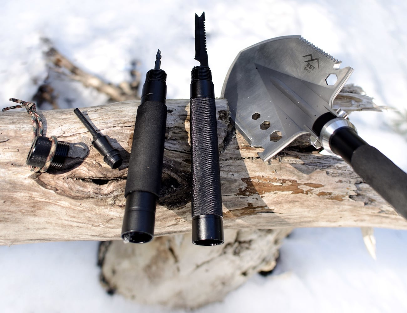 EST Shovel Multipurpose Adventure Tool combines 18 useful features in one