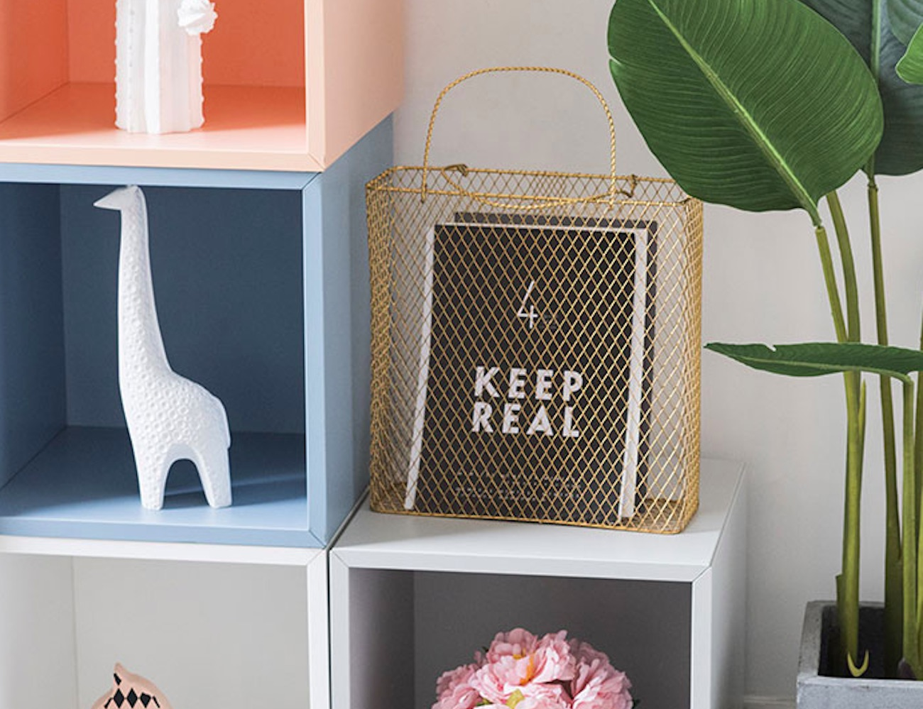 Geometric Design Metal Magazine Rack has a spot for anything