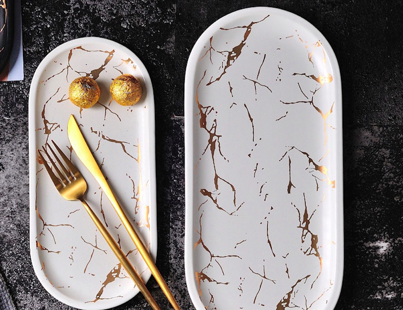 Gold Marble Ceramic Serving Tray combines style and elegance