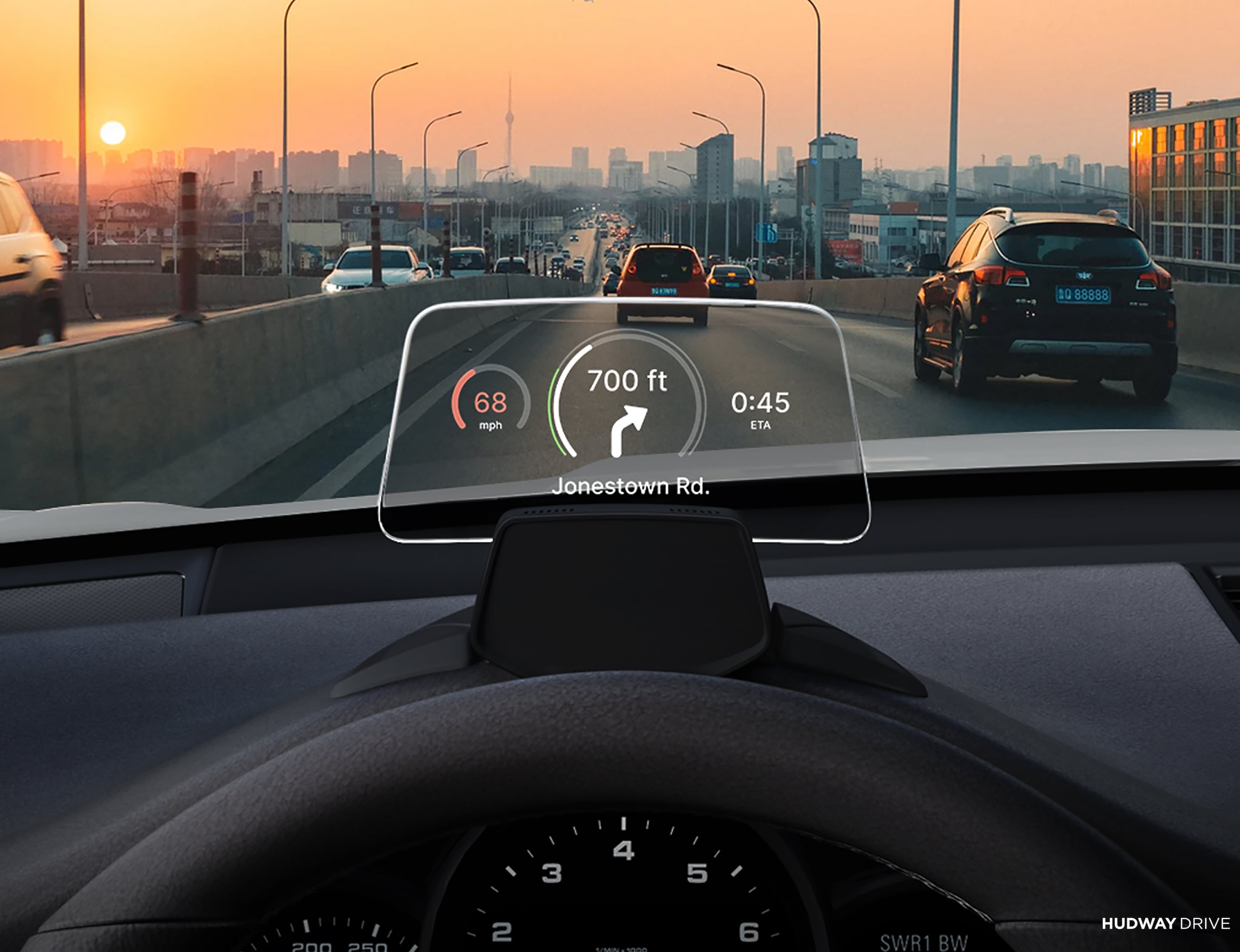 HUDWAY Drive Portable Head-Up Display keeps you focused on the road