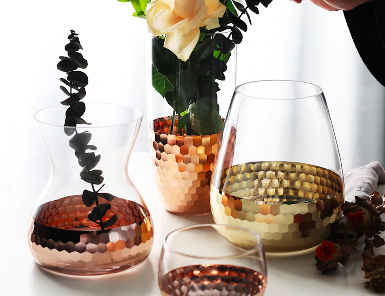 Hammered Half-Dipped Glass Vase looks like it's been dipped in metal loading=