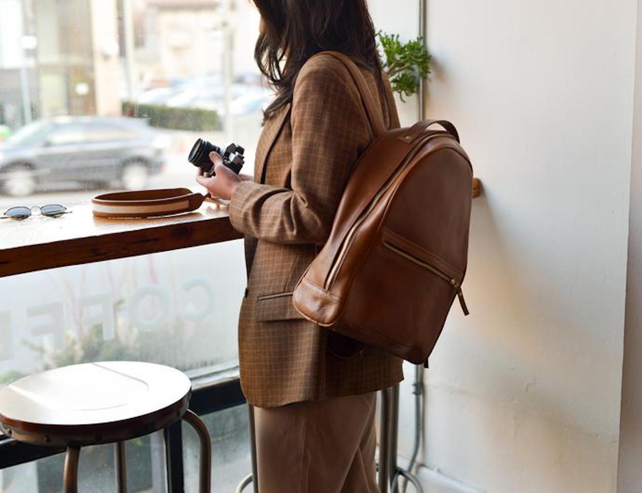 Handmade Women's Leather Travel Backpack holds all your trip essentials
