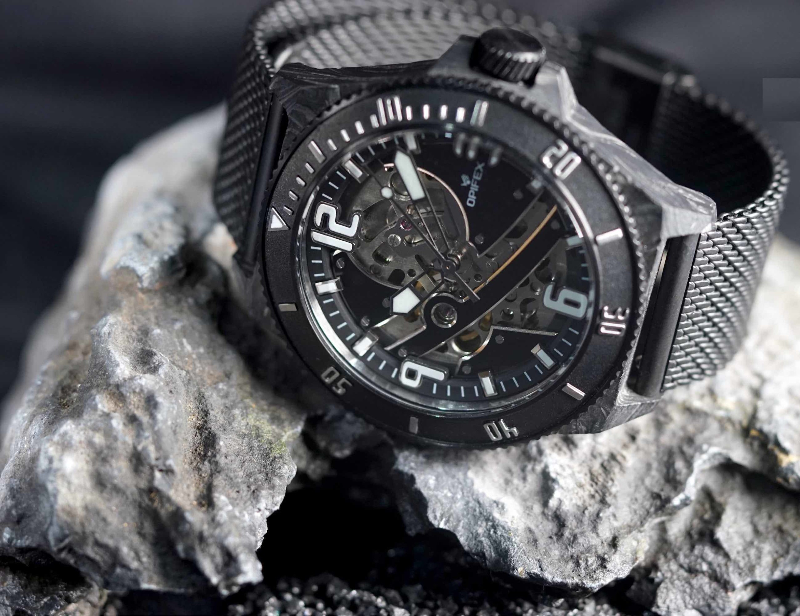 OPIFEX TWO Skeleton Automatic Watch is water resistant to 100 meters
