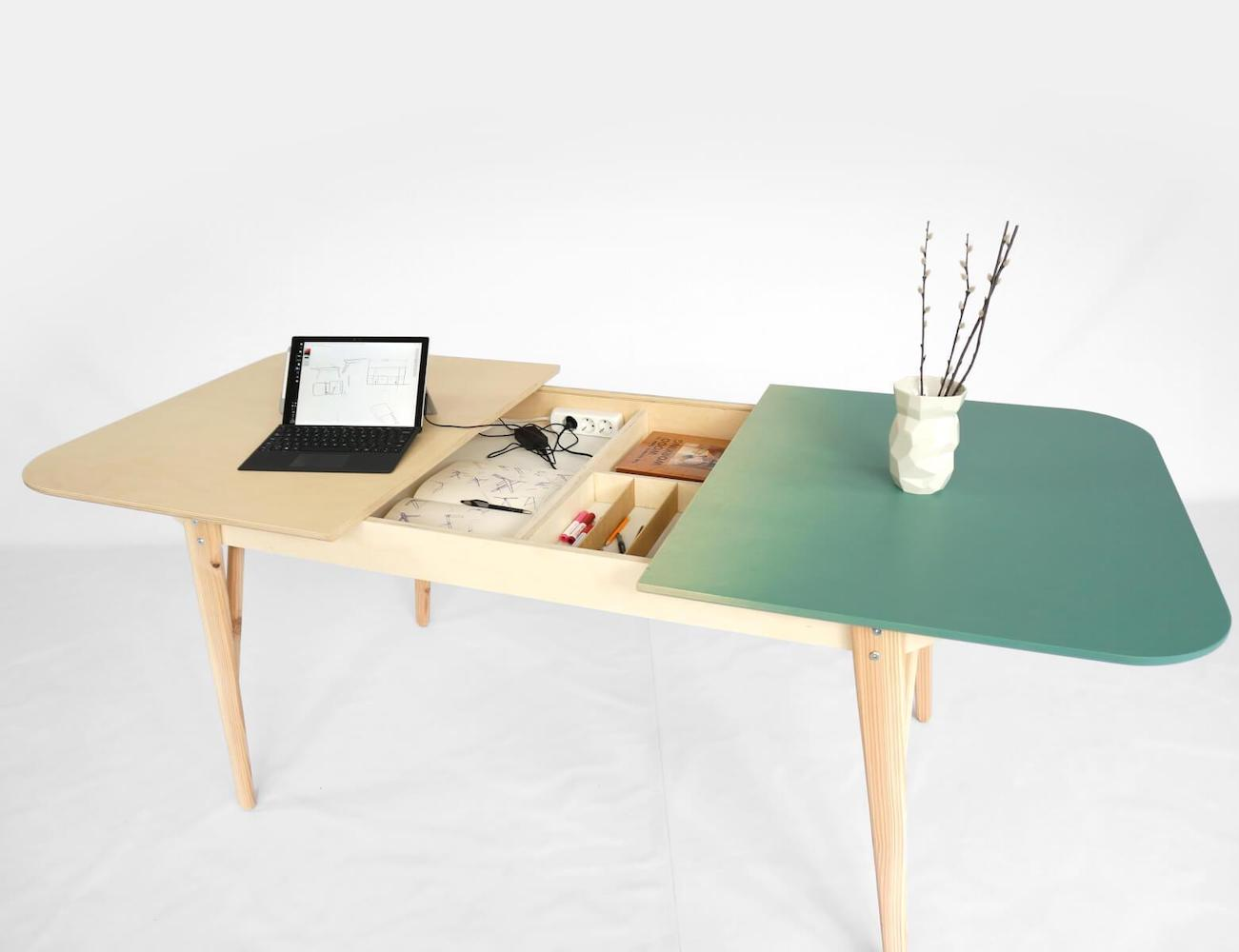 Tableworks Hybrid Table Desk transitions from work to mealtime