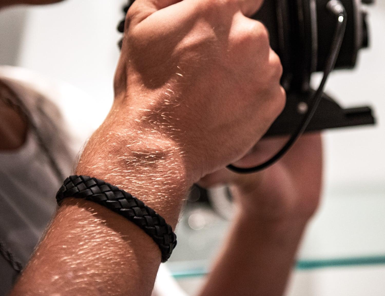 The Steel Shop Braided Italian Leather Bracelet offers modern sophistication