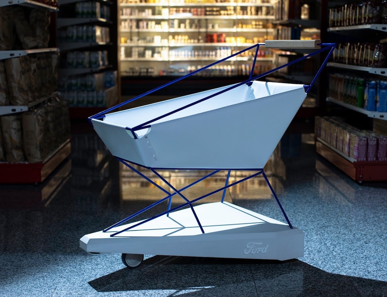Ford Self-Braking Shopping Cart avoids grocery store accidents