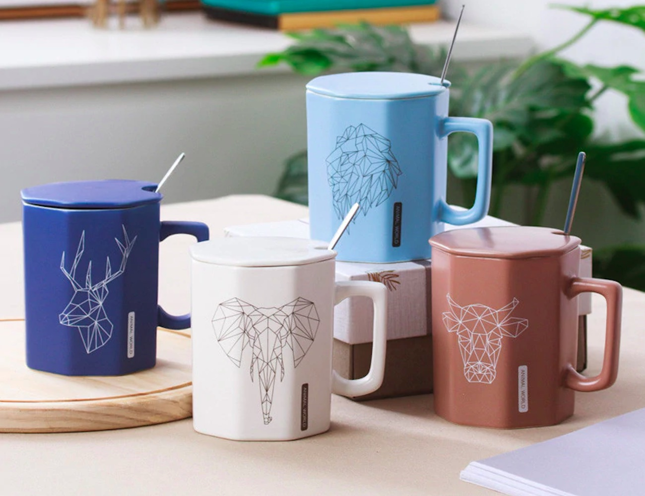 Geometric Animal All-in-One Ceramic Mug has everything you need