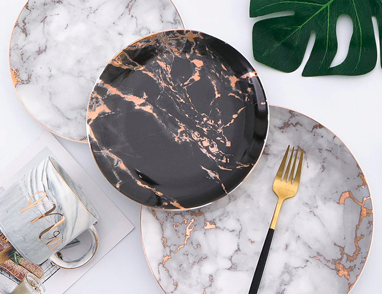 Gold-Accent Marble Dinner Plates are a total upgrade from tradition