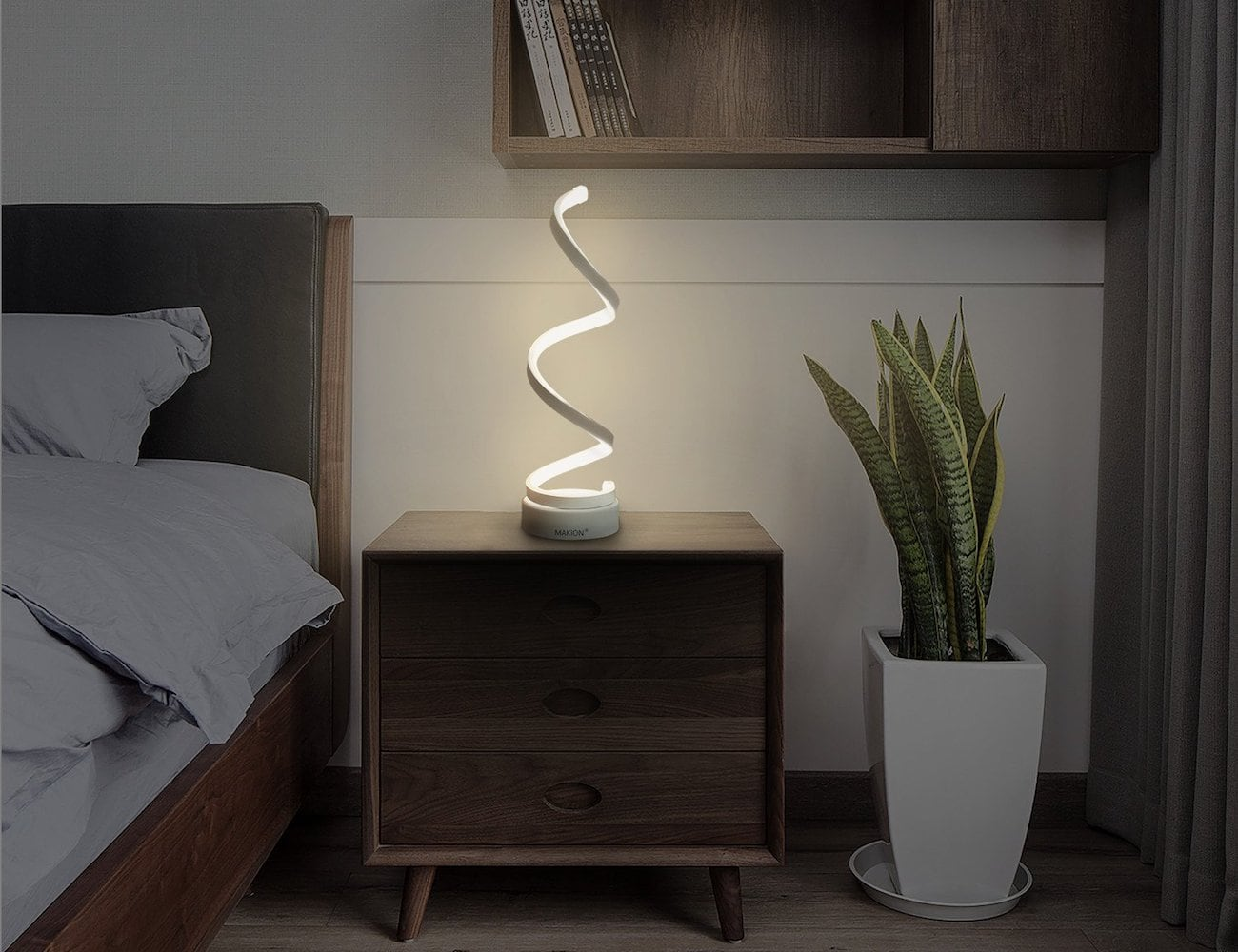 Helix Spiral Decor Lamp provides three different colors of light