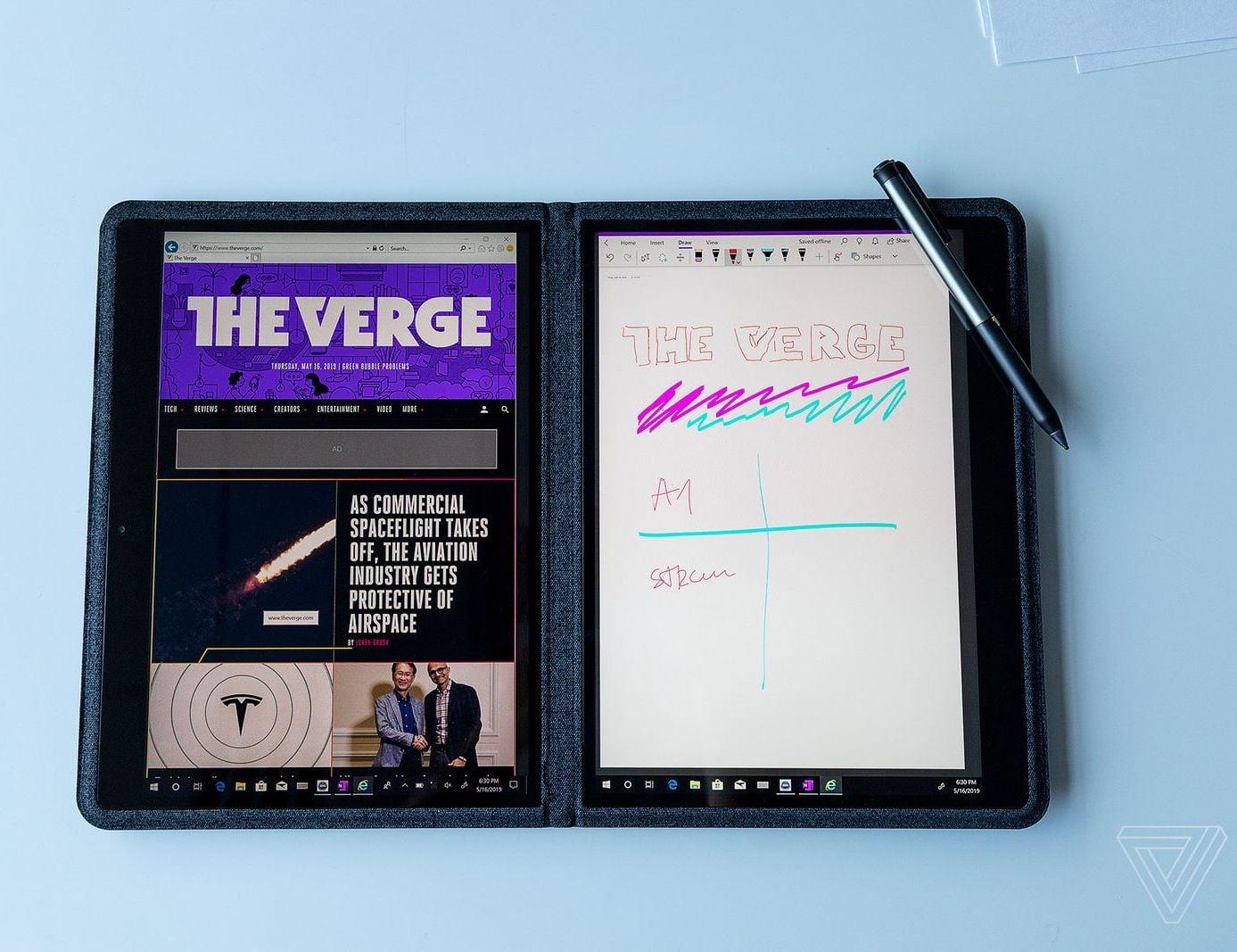 Intel Twin River Dual-Screen Fabric Laptop sports a sleek, flexible design