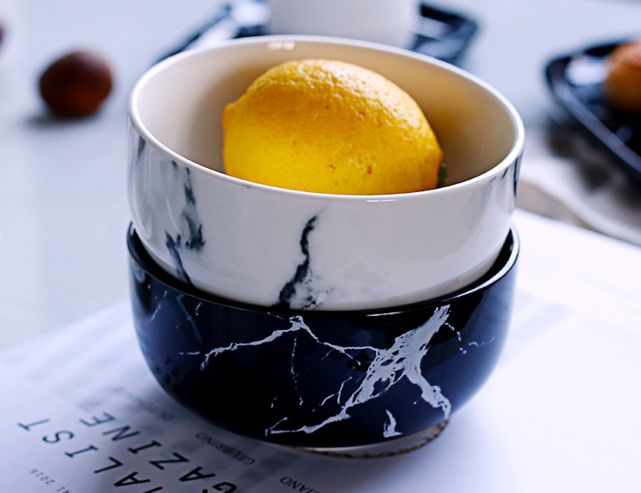 Marbled Ceramic Dinner Bowl adds a twist to your crockery