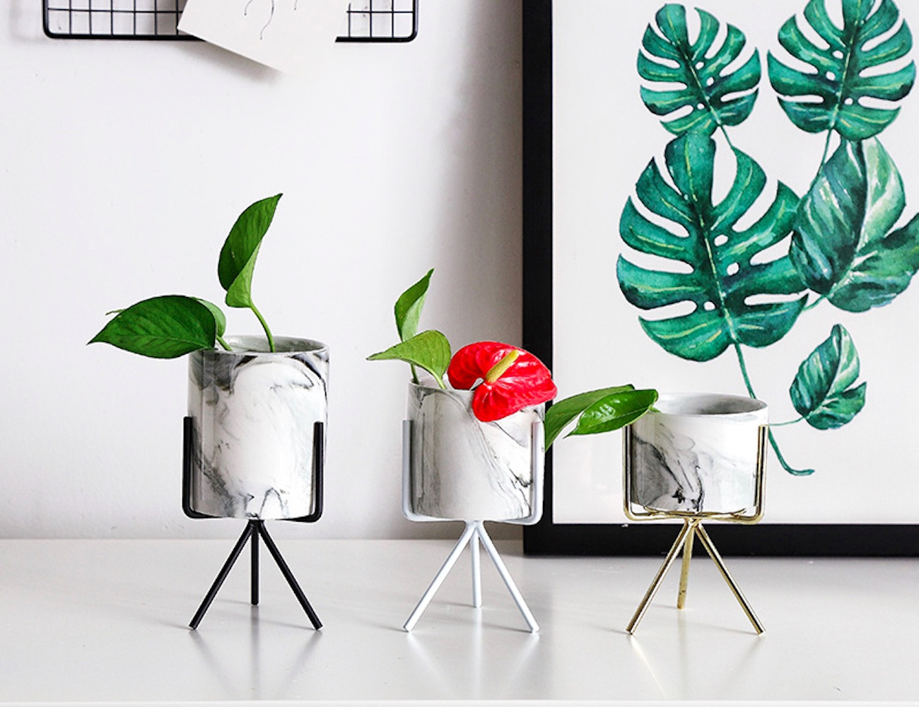 Minimalist Marbled Ceramic Flower Pot gives a pop of style to your plants