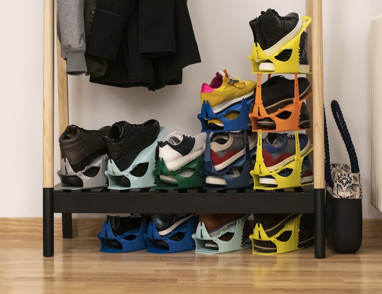 ShoeSpace Stacking Shoe Organizer can save 80% of your shoe space