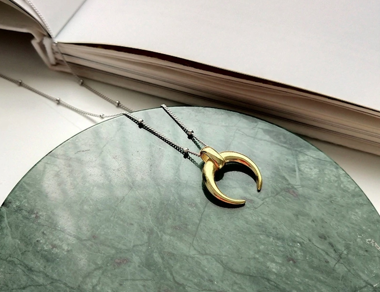 Silver Crescent Moon Pendant Necklace sports a dual color design