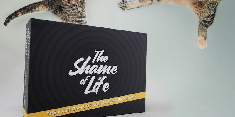 A naughty party game box with two cats jumping above it.