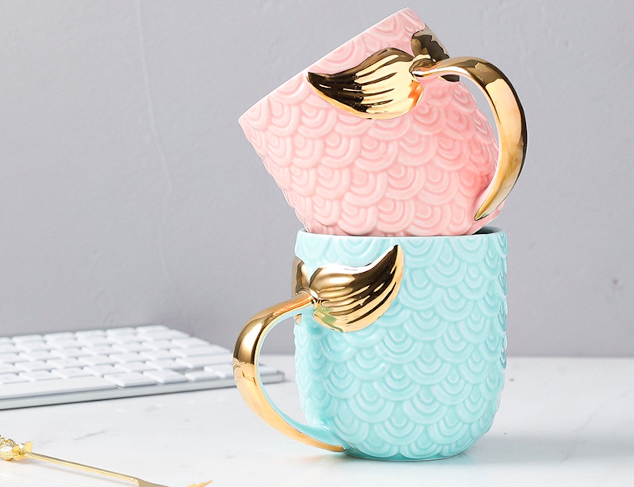 Whimsical Gold Mermaid Tail Mug will start your morning with wonder loading=