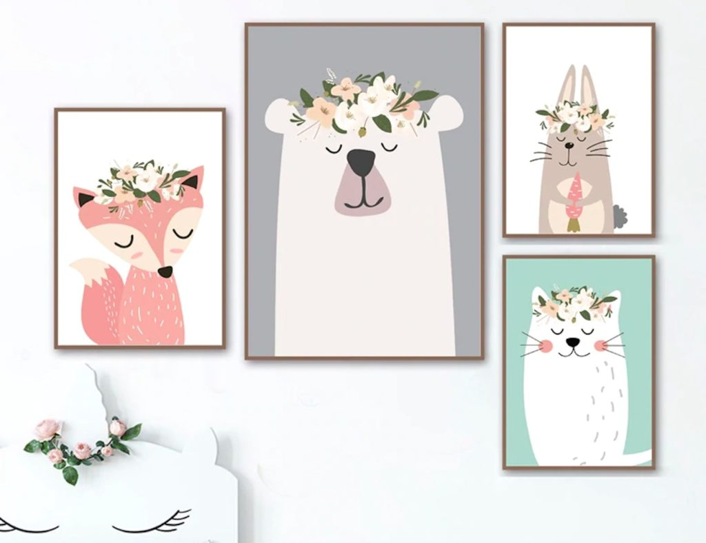 Woodland+Animals+Pastel+Nursery+Prints+are+all+about+sparking+joy+in+your+little+one