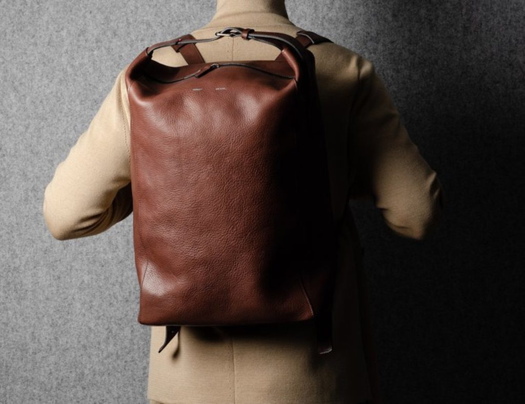 hardgraft+Chestnut+Belted+Leather+Backpack+has+a+padded+laptop+compartment