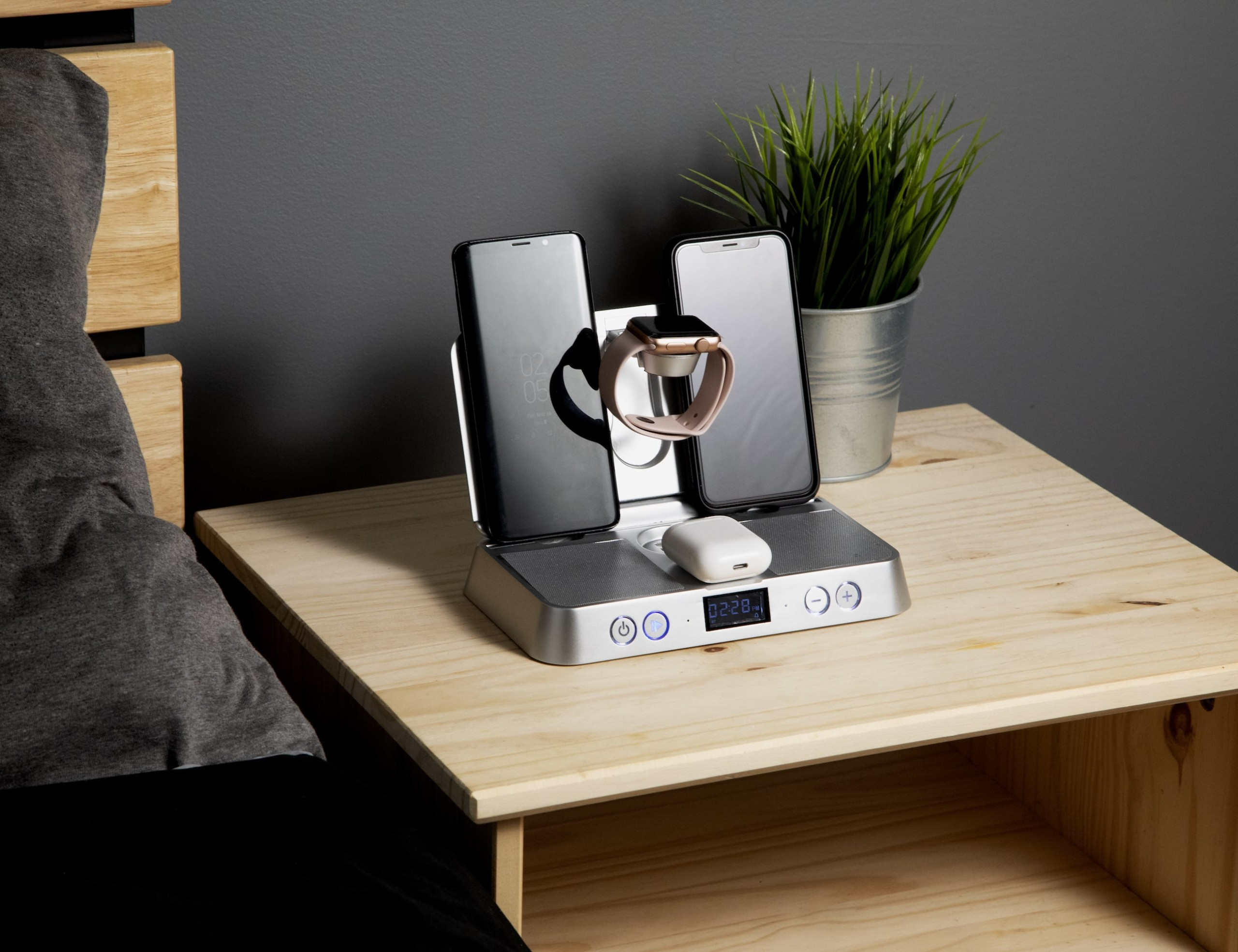 iQonAir Universal Wireless Bedside Charger cleans up your nightstand