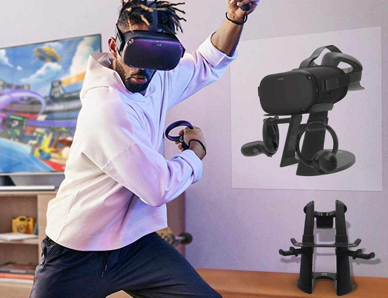 AMVR VR Stand Headset Holder proudly displays your virtual reality headset