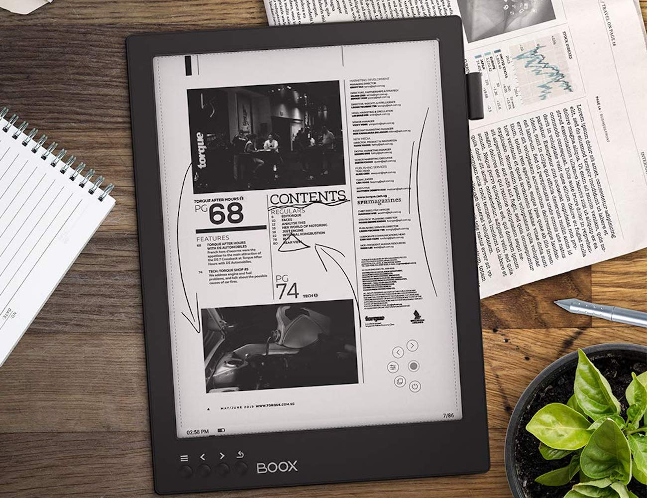BOOX Max 2 Pro 13.3 Large Paperlike E-reader is larger than a standard sheet of paper