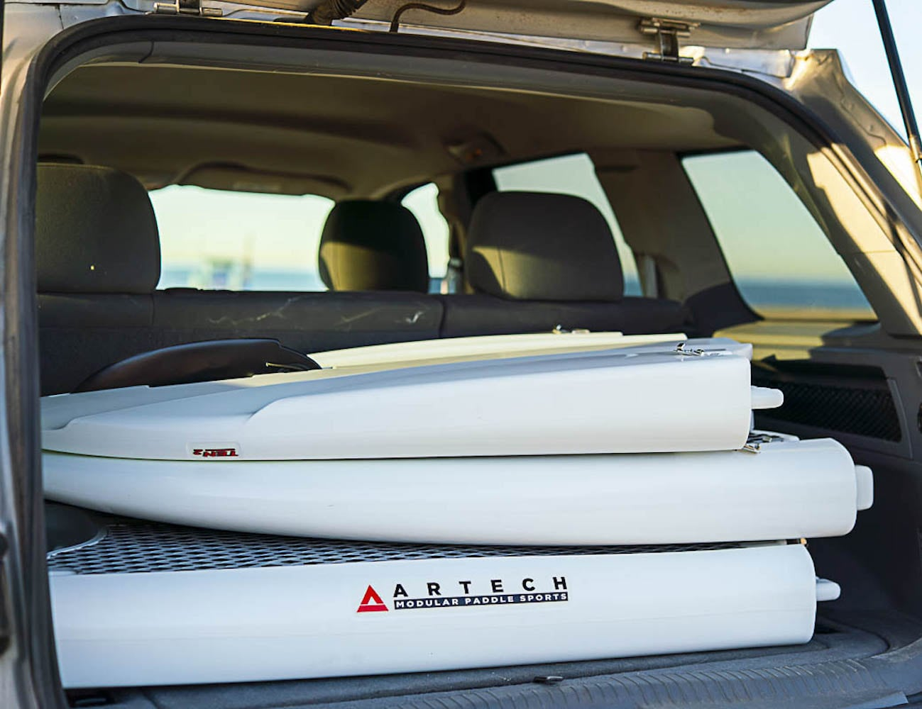 Easy Eddy Three-Piece Modular Paddle Board easily fits in your vehicle