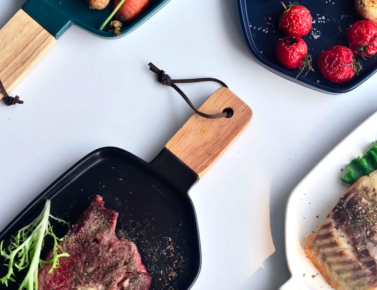 Geometric Wooden Handle Serving Plate add a modern twist to your table