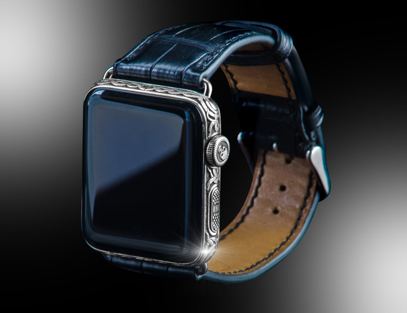 Goldstriker Platinum Black Diamond Apple Watch Series 4 gives your wrist extra embellishment