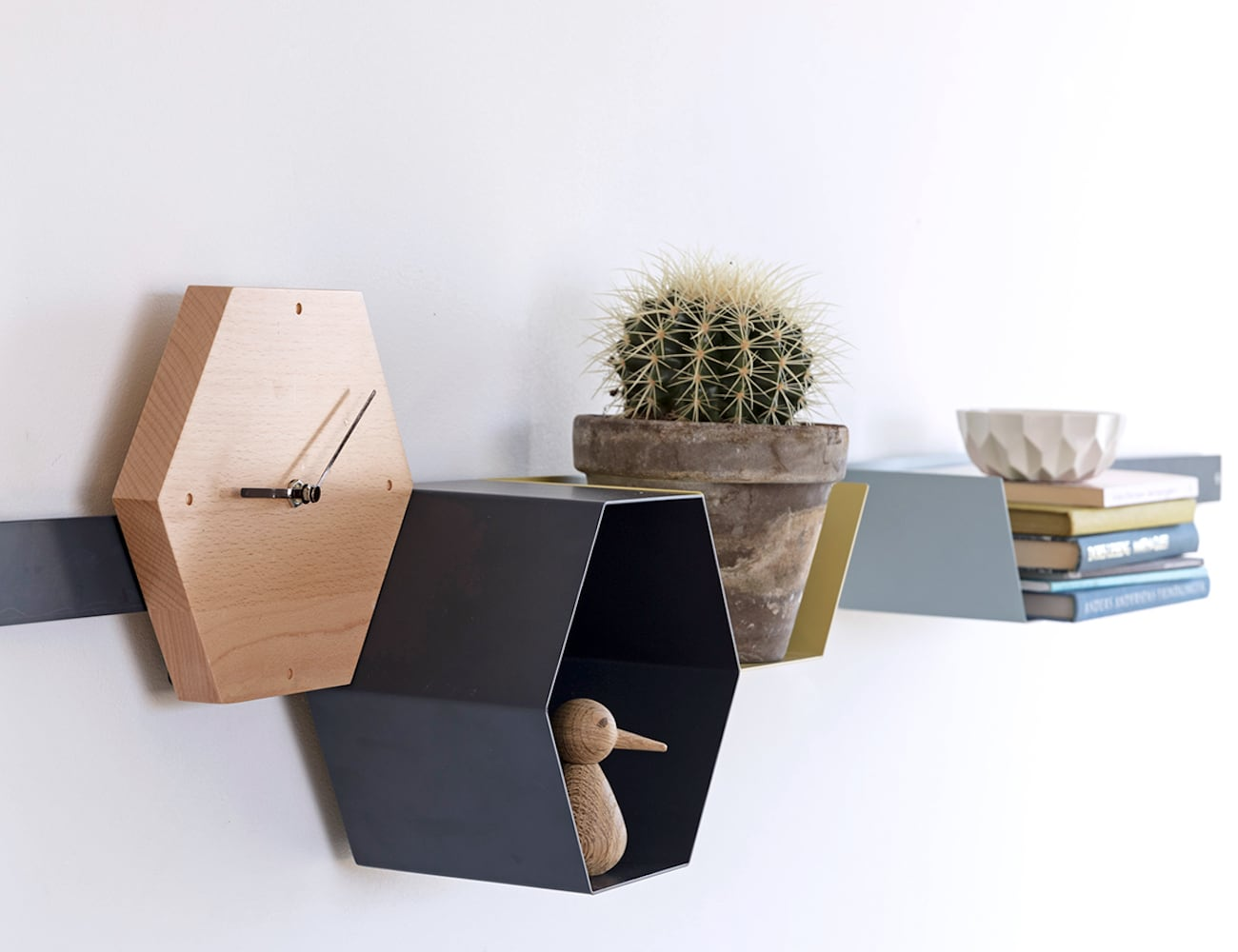 Hans Thyge and Co Hexagonal Modular Shelving Unit is a creative storage solution