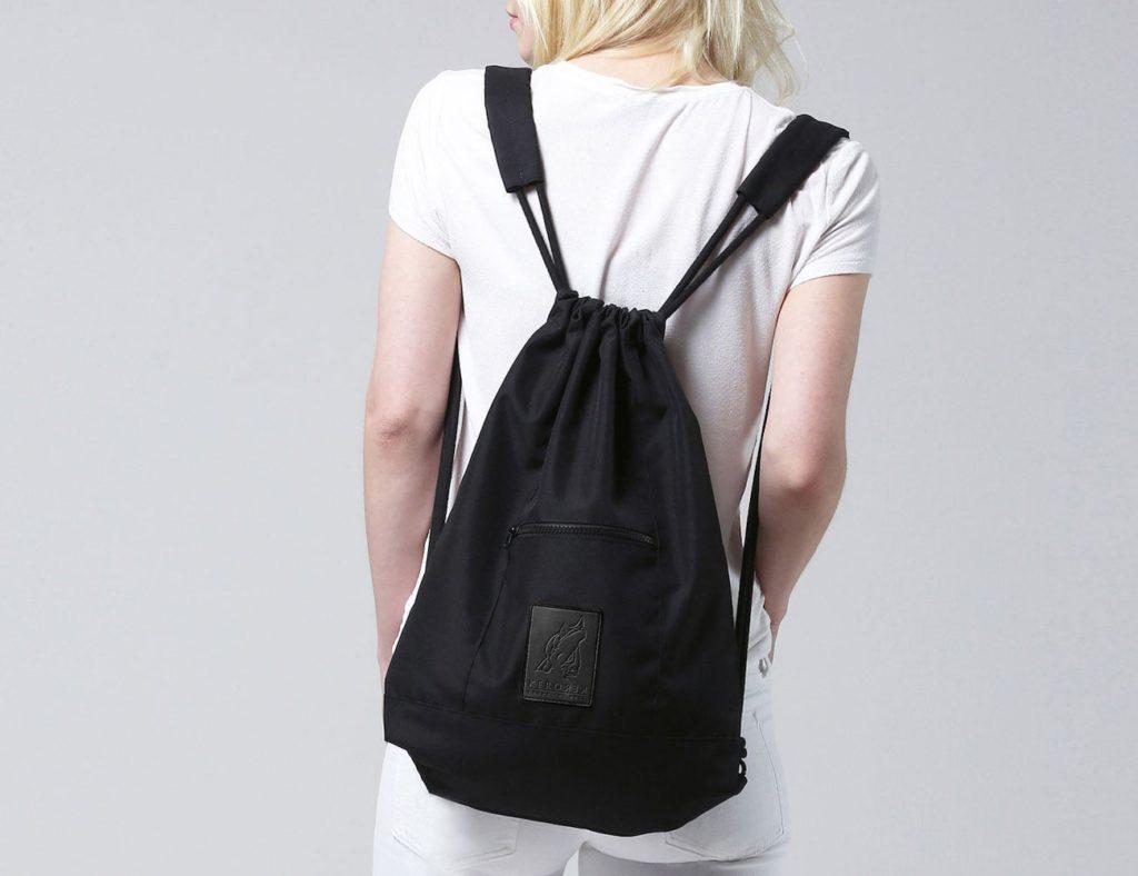 Kerorek+Black+Canvas+Bag+Drawstring+Backpack+is+a+minimalist+everyday+pack