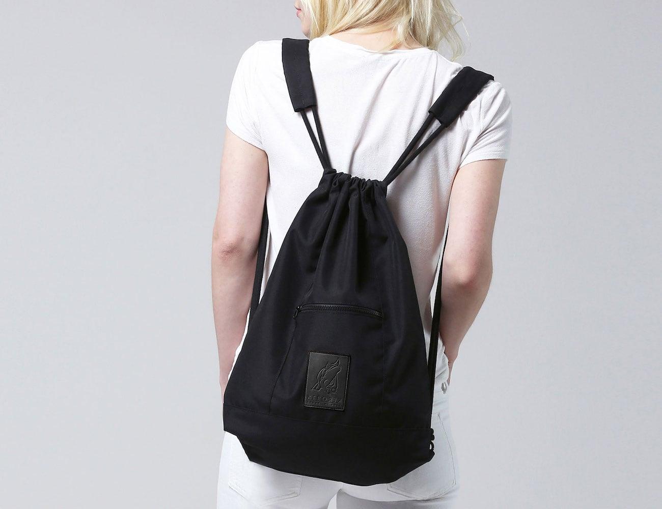 Kerorek Black Canvas Bag Drawstring Backpack is a minimalist everyday pack