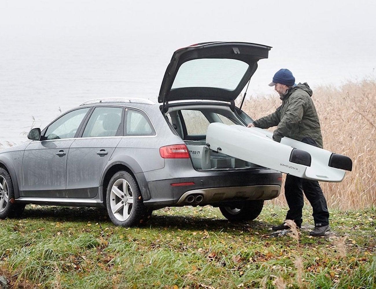 KingFisher Modular Trimaran Fishing Kayak fits right in your car