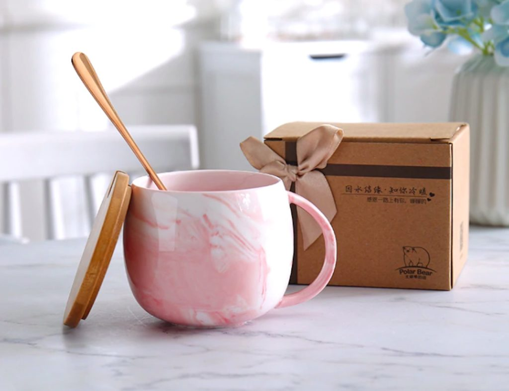 Marble+Ceramic+Coffee+Mug+with+Lid+and+Spoon+is+equally+beautiful+and+useful