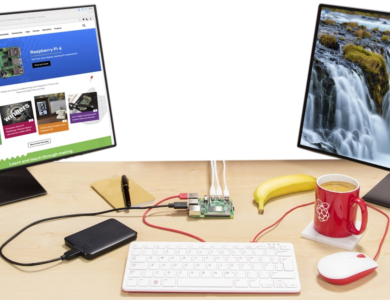 Raspberry Pi 4 Miniature Single Board Computer lets you run two monitors at once