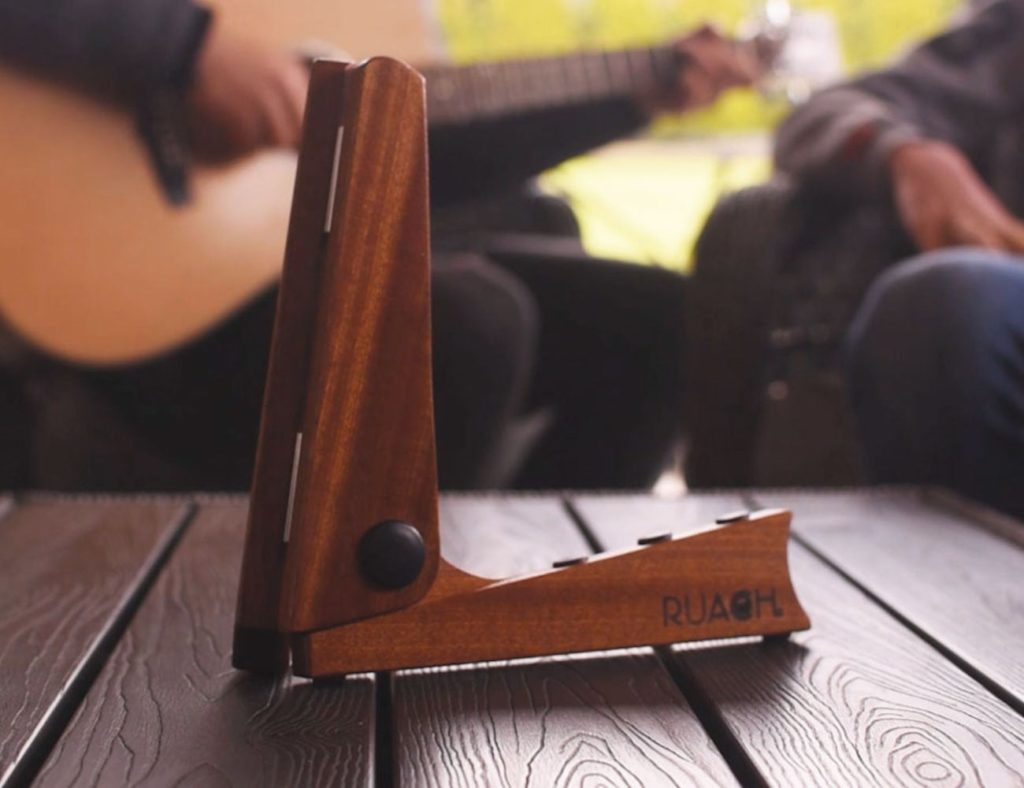 Ruach+Wood+Pocket+Guitar+Stand+provides+heavy-duty+support+for+your+instrument