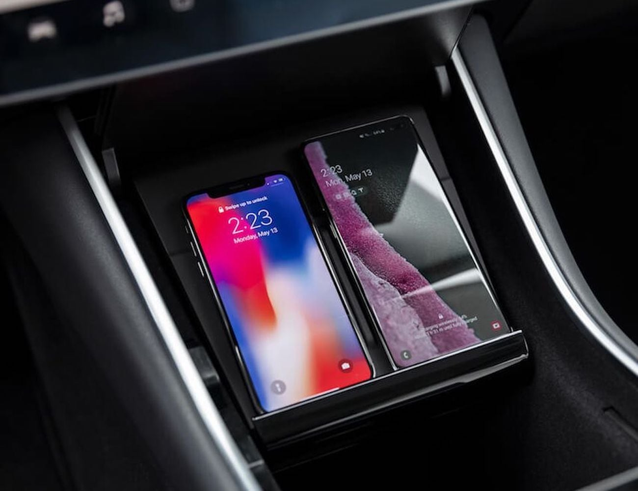 Tesla Model 3 Vehicle Wireless Phone Charger fits seamlessly into your Tesla