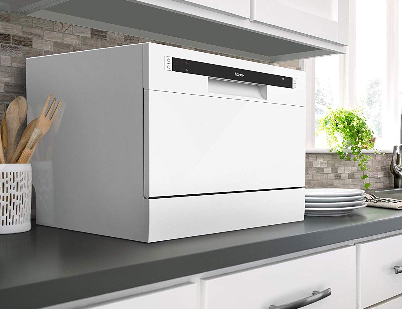 hOmeLabs Compact Countertop Dishwasher is a space saving way to clean up after dinner
