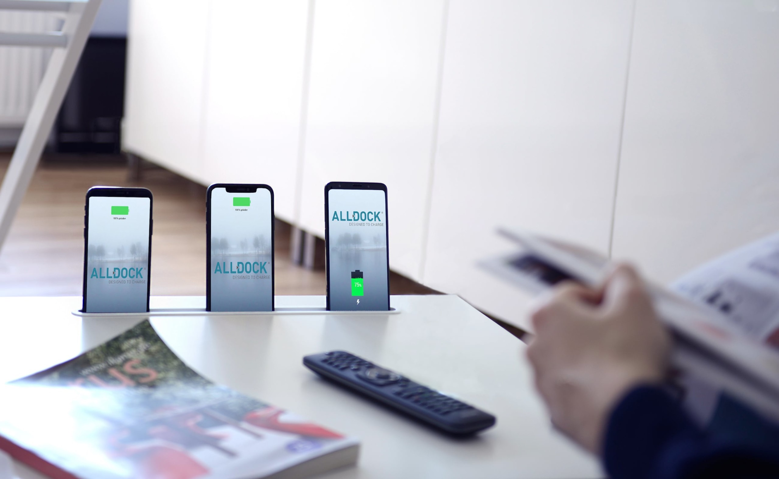 Alldock Integrate Built-In Charging Dock works with all common smartphones