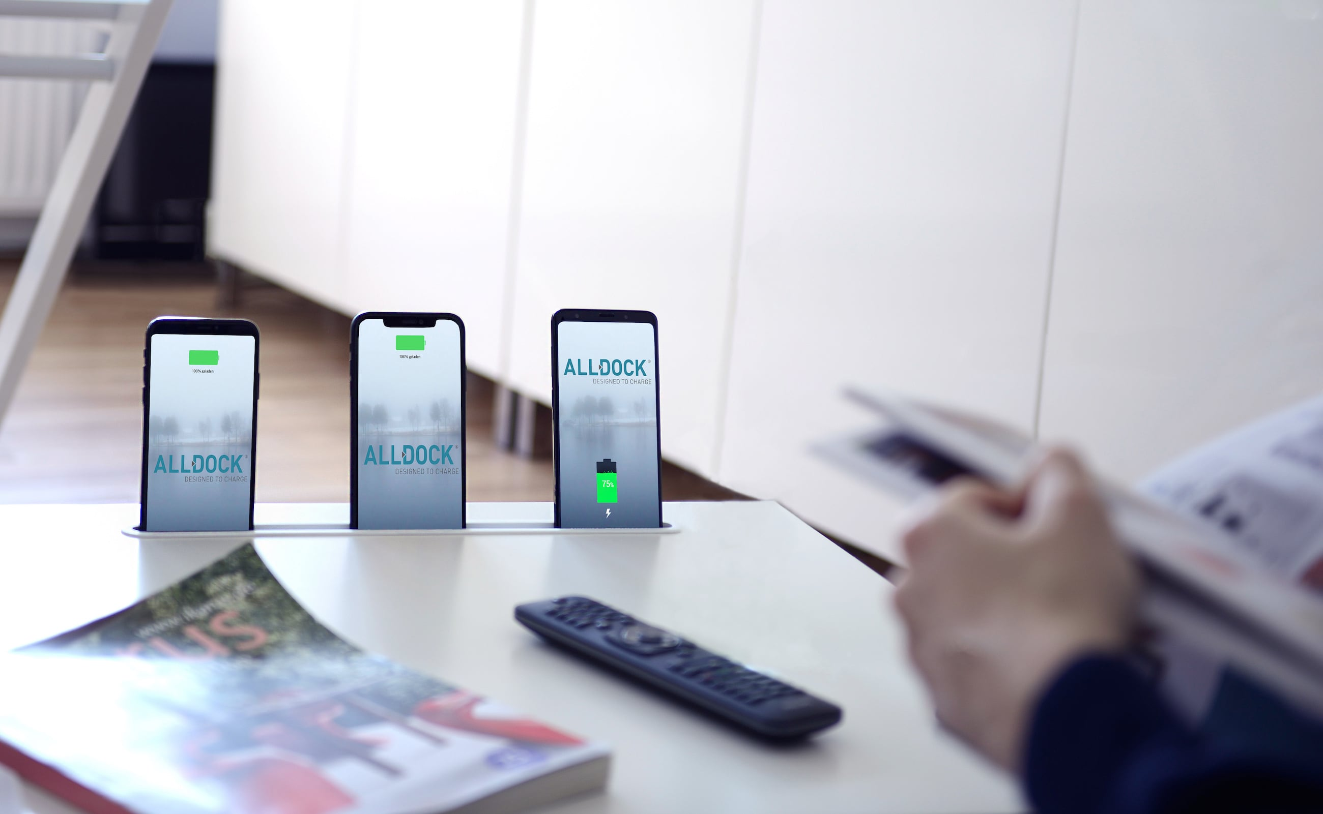 Alldock Integrate Built-In Charging Dock works with all common smartphones
